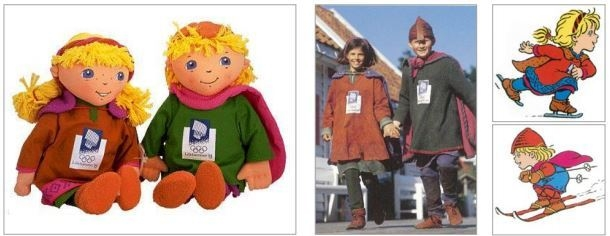 The first mascots in human form, Haakon and Kristin, appeared at the 1994 Lillehammer Olympics. (International Olympic Committee)