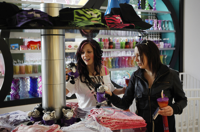 Elissa Cunningham, left, and Christa Johnston shop in Purple Zebra at The Linq in Las Vegas Tuesday, Feb. 11, 2014. (John Locher/Las Vegas Review-Journal)