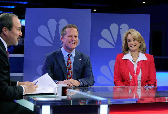 "Republican lieutenant governor candidates Mark Hutchison, center, and Sue Lowden, right appear with Jon Ralston during a televised debate on the ""Ralston Reports"" program at the KSNV tel ..."