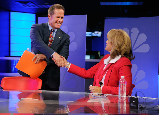 "Republican lieutenant governor candidates Mark Hutchison, left, and Sue Lowden greet before their appearance on a televised debate on the ""Ralston Reports"" program at the KSNV television ..."