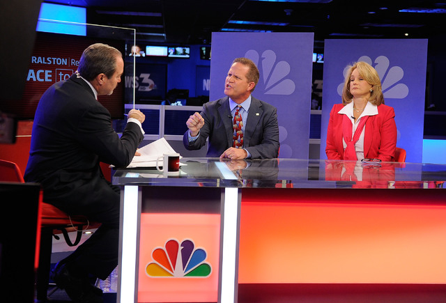 "Republican lieutenant governor candidates Mark Hutchison, center, and Sue Lowden, right, appear with Jon Ralston during a televised debate on the ""Ralston Reports"" program at the KSNV te ..."