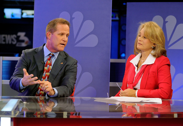"Republican lieutenant governor candidates Mark Hutchison, left, and Sue Lowden appear during a televised debate on the ""Ralston Reports"" program at the KSNV television studio on Monday,  ..."