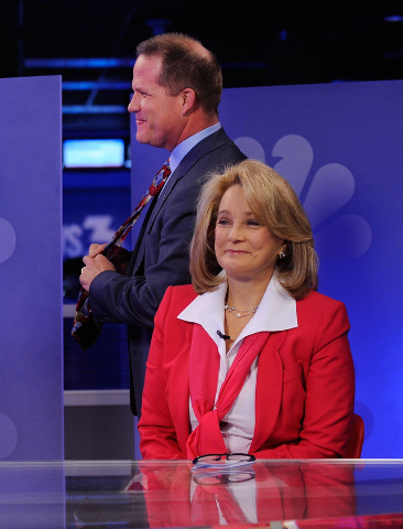 "Republican lieutenant governor candidates Mark Hutchison, left, arrives to the set with Sue Lowden before their appearance on a televised debate on the ""Ralston Reports"" program at the K ..."