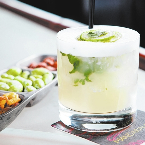 The Cucumber Cilantro Margarita is seen at the Mandarin Bar at the Mandarin Oriental hotel in Las Vegas on Friday, Feb. 13, 2014. (Chase Stevens/Las Vegas Review-Journal)