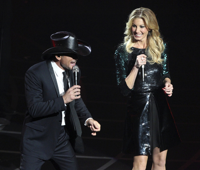 "Married country singers Tim McGraw and Faith Hill perform during the opening weekend of their residency at The Venetian on Dec. 8, 2012. The show, called ""Soul2Soul,"" is booked for 10 weekends thr ..."