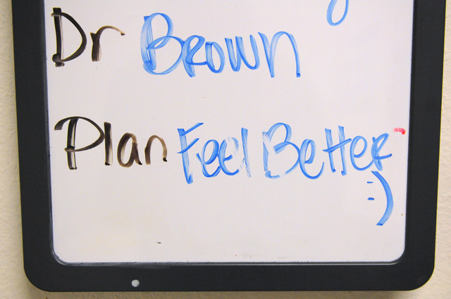 A note left behind by a doctor is seen on a white board inside a patient's room at the Children's Hospital of Nevada emergency room at University Medical Center Wednesday, Feb. 5, 2014. (Erik Verd ...