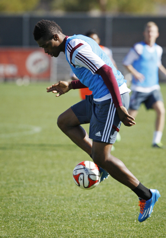 Colorado Rapids player Deshorn Brown practices with his team at UNLV in Las Vegas Thursday, Feb. 13, 2014. His team will play Chivas USA Sunday in Las Vegas. (John Locher/Las Vegas Review-Journal)