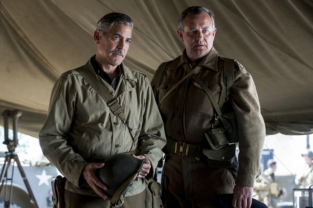 "George Clooney, left, and ""Downton Abbey's"" Hugh Bonneville star in ""The Monuments Men."" (Claudette Barius/Columbia Pictures and Twentieth Century Fox)"
