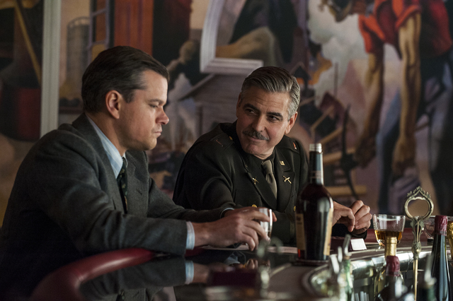 "Matt Damon (left) and George Clooney in Columbia Pictures' ""The Monuments Men."""