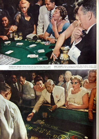 "Caption: ""Blackjack tables at Moulin Rouge (top), first big club in Las Vegas to admit both Negroes and whites, were jammed opening night with well-dressed gamblers. Crap tables (bottom) at D ..."