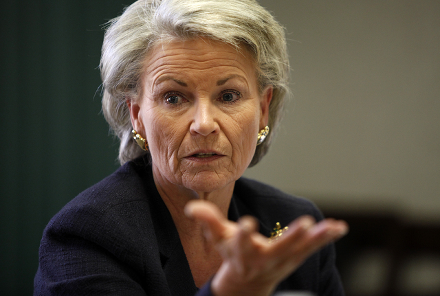 Pat Mulroy left the helm of the Southern Nevada Water Authority with a salary of $279,154 a year plus benefits. She is shown here in a Tuesday, Sept. 24, 2013, file photo. (John Locher/Las Vegas R ...