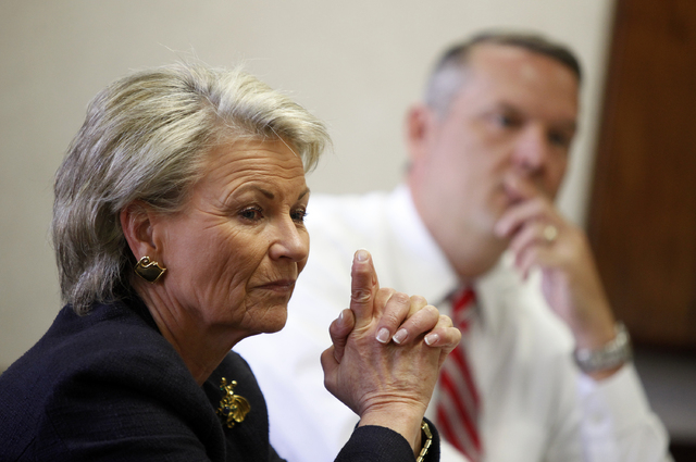 Pat Mulroy, general manager of the Southern Nevada Water Authority, speaks with the Las Vegas Review-Journal editorial board at the paper in Las Vegas Tuesday, Sept. 24, 2013. John Entsminger, who ...