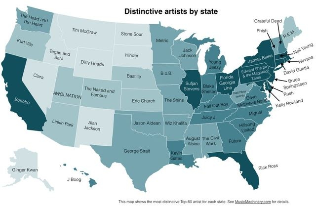 Map of Music Machinery's distinctive artists by state study. (Courtesy Paul Lamere/Music Machinery)