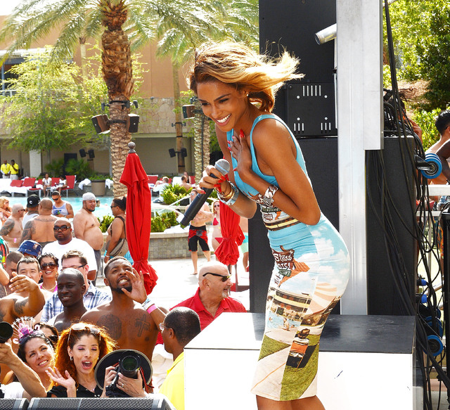"""Ciara performs at """"Ditch Fridays"""" at Ditch Pool & Dayclub at Palms Hotel and Casino on August 2, 2013 in Las Vegas, Nevada. (Photo by Denise Truscello/WireImage)"""