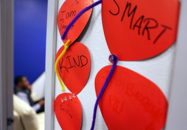 Positive words and affirmations are written on balloon decorations at Brooks Behavioral Health Center facility Thursday, Jan. 30, 2014, in North Las Vegas. Brooks Behavioral Health Center provides ...