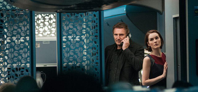 "Liam Neeson and ""Downton Abbey's"" Michelle Dockery star in ""Non-Stop."" (Myles Aronowitz/Universal Studios)"