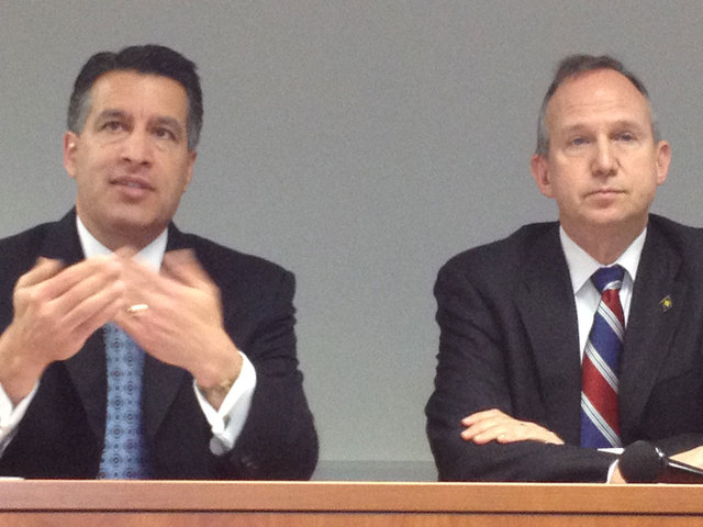 Nevada Gov. Brian Sandoval and Delaware Gov. Jack Markell take questions Tuesday after signing a bi-state Internet Gaming Agreement in Wilmington, Del. (Steve Tetreault/Stephens Washington Bureau)