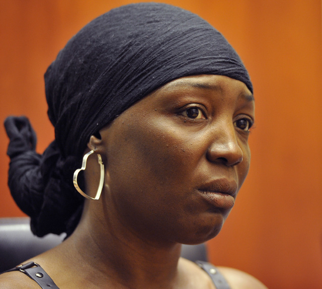 Tracy Meadows, mother of D'Andre Berghardt, the 20-year-old killed at Red Rock on Feb. 14, is interviewed at the Las Vegas Review-Journal on Friday, Feb. 21, 2014. (Mark Damon/Las Vegas Rev ...