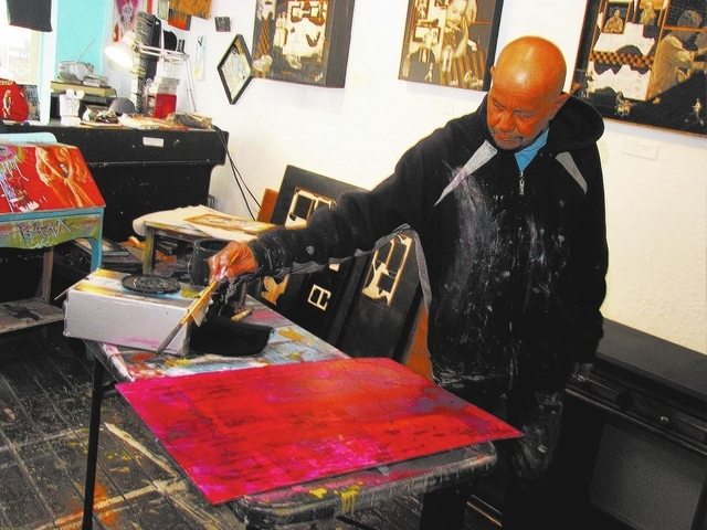 Alexander Huerta works on art in his gallery/studio on the second floor of The Arts Factory, 107 E. Charleston Blvd. (F. Andrew Taylor/View)