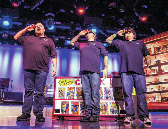 """Members of  """"Pawn Shop Live"""" show from left,  Sean Critchfield (Slick Garrison,) Gus Langley (LilՠBoss) and Garret Grant (Chump) perform at the Golden Nugget showroom on Friday, Ja ..."""