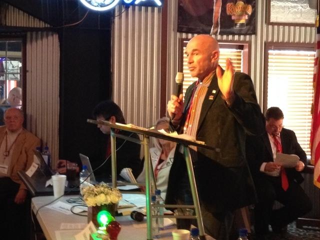 Lee Hoffman speaks at GOP meeting Sat before being selected as national committeeman. (Sean Whaley/Las Vegas Review-Journal)