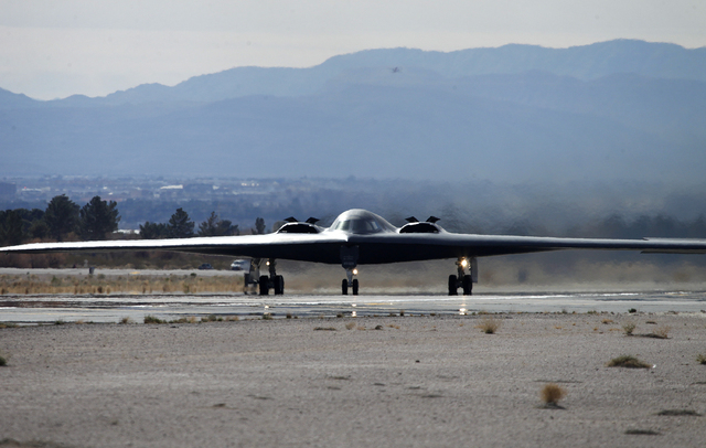 A B-2 stealth bomber from Whiteman Air Force Base takes off from Nellis Air Force base in Las Vegas during Red Flag exercises Tuesday, Feb. 4, 2014. (John Locher/Las Vegas Review-Journal)