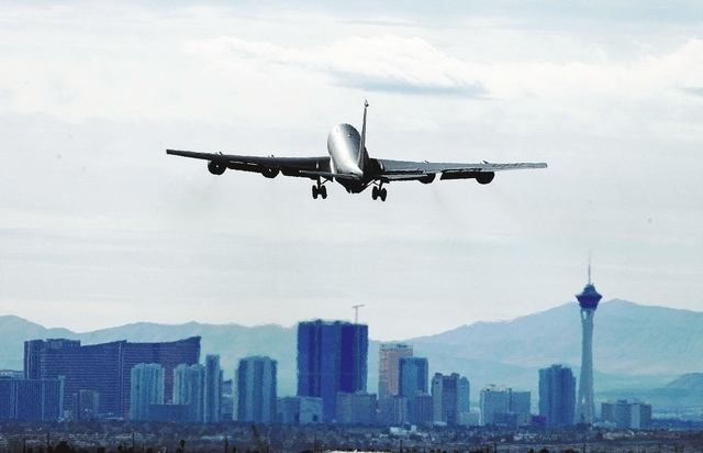 A KC-135 Stratotanker takes off from Nellis Air Force base in Las Vegas during Red Flag exercises Tuesday, Feb. 4, 2014. (John Locher/Las Vegas Review-Journal)