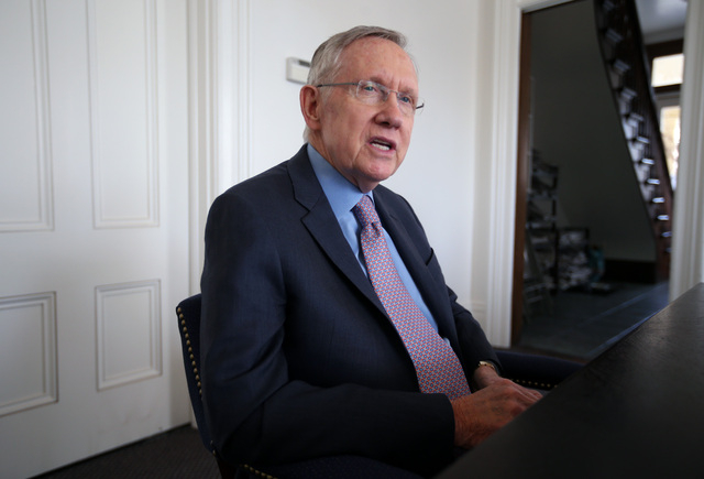 Senate Majority Leader Harry Reid, D-Nev., answers media questions at the Nevada Press Association in Carson City, Nev., on Tuesday, Feb. 18, 2014. (Las Vegas Review-Journal/Cathleen Allison)