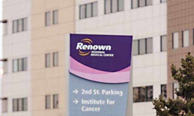 Renown Regional Medical Center is shown in this December 2013 file photo. (AP Photo/Scott Sady)