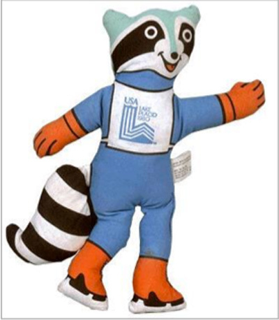 The 1980 Lake Placid Olympic mascot was Roni, a raccoon who was designed right before the Games when the living mascot, Rocky, died. (International Olympic Committee)