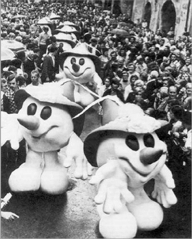 The first official Winter Games mascot, Schneemann, wore a red Tyrolean hat typical of his region at the Innsbruck 1976 Olympics. (International Olympic Committee)