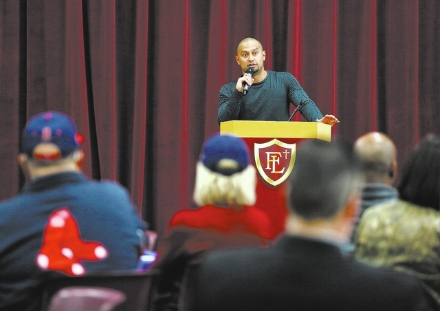 Boston Red Sox outfielder Shane Victorino speaks to Business Advisory Council members during a breakfast seminar at Faith Lutheran Middle School & High School Tuesday, Feb. 4, 2014, in Las Vegas.  ...