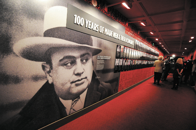 A display featuring an image of Al Capone at The Mob Museum. (David Becker/Las Vegas Review-Journal file)