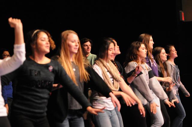"""Student cast members rehearse for the upcoming play """"Bye Bye Birdie"""" at the Bishop Gorman High School, 5959 S. Hualapai Way. """"Bye Bye Birdie"""" is scheduled to debut Feb. 28. (Erik Verduzco/View)"""