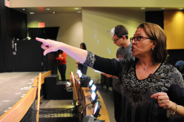 """Elena Ferrante-Martin, director of  the upcoming play """"Bye Bye Birdie"""" at Bishop Gorman High School, instructs student cast members during a rehearsal, Feb. 4. (Erik Verduzco/View)"""
