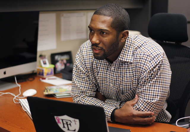 Vernon Fox sits in his office at Faith Lutheran Middle School and High School, Jan. 29. Fox previously played in the NFL, including a stint with the Denver Broncos. (Jason Bean/View)