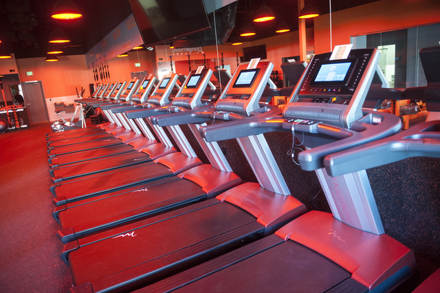 Equipment is on display at Orangetheory Fitness in Village Square, Feb. 3.  Orangetheory plans to open seven more locations in the valley over six years. (Jacob Kepler/View)