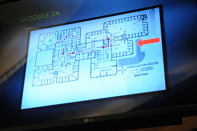 A floor plan indicating where Luis Solano was housed is displayed on a screen during a public hearing on his death at the Commission Chambers inside the Clark County Government Center in Las Vegas ...