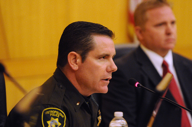 Corrections Lt. William Teel with the Las Vegas Metropolitan Police Department answers questions after being called as a witness during a public hearing on the death of Luis Solano, an inmate who  ...