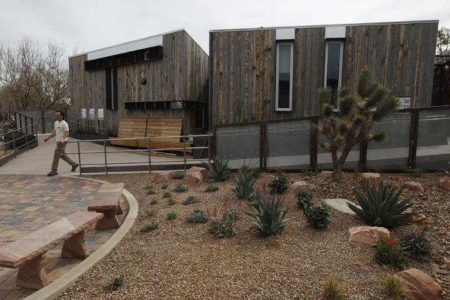 People tour the DesertSol house exhibit at the Springs Preserve in Las Vegas Saturday, Feb. 15, 2014. (John Locher/Las Vegas Review-Journal)