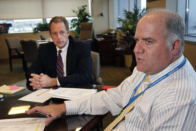 North Las Vegas Mayor John Lee, left, and Director of Finance Darren Adair speak with the Review-Journal in Mayor Lee's office at North Las Vegas City Hall on Jan. 7. (Jason Bean/Las Vegas Review- ...