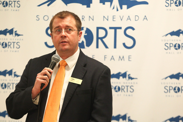 Southern Nevada Sports Hall of Fame Chairman Jeff Motley speaks at the rededication ceremony for the hall's new location at Findlay Toyota, 7733 Eastgate Road in Henderson, on Saturday, Feb. 8, 20 ...