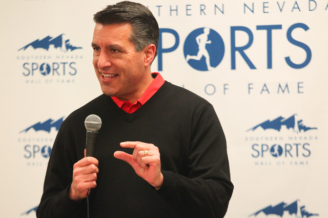 Gov. Brian Sandov speaks at the rededication ceremony of the new Southern Nevada Sports Hall of Fame location at Findlay Toyota, 7733 Eastgate Road in Henderson, on Saturday, Feb. 8, 2014. (Chase  ...