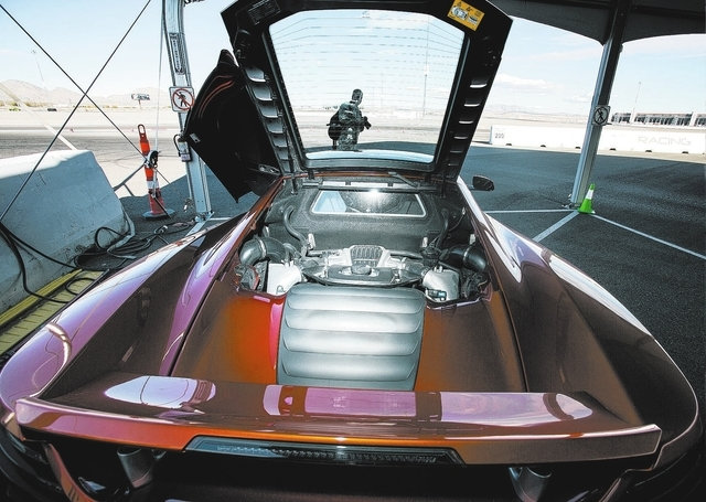 A McLaren motor is displayed at the Exotics Racing track at the Las Vegas Motor Speedway. The 1.2-mile track includes seven turns. (Jeff Scheid/View)