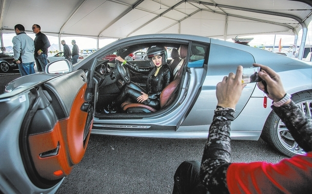 Xenia Sanchez sits behind the wheel of an Audi R8 at the Exotics Racing track Feb. 3 at the Las Vegas Motor Speedway. The school provides a variety of high-performance cars, including Ferrari, Lam ...