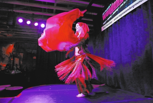 "New World Rhythmatism dancer Megan Beers performs a solo Jan. 16 during the ""Wonderground"" variety show at The Olive, 3850 East Sunset Road. (Ronda Churchill/View)"