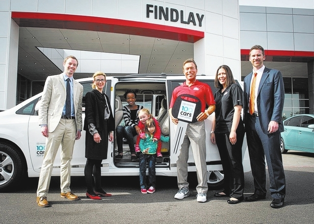 Findlay Toyota, 7733 Eastgate Road, presented a 2014 Toyota Sienna to Boulder City-based St. Jude's Ranch for Children as part of the Toyota 2013 100 Cars for Good program. Cars were given to 10 ...