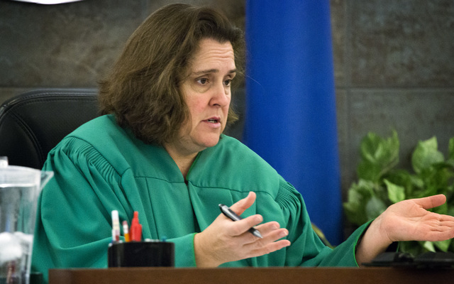 District Judge Kathleen Delaney speaks during the sentencing of Ammar Harris in Clark County District Court on Wednesday. Delaney sentenced Harris to a minimum of 16 years to a maximum of a life i ...