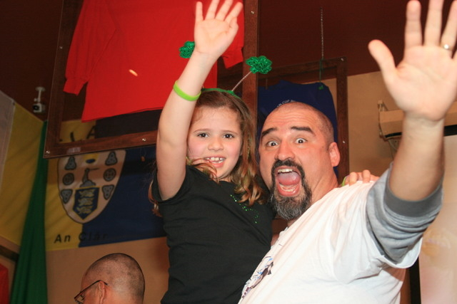 Elli Raffi and her father, Alex Raffi, celebrate after Alex shaved his head at a St. Baldrick's Day event in March 2011 at McMullan's Irish Pub, 4650 W. Tropicana Ave. Alex and Elli, 10, plan to c ...