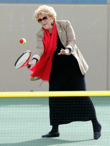 Las Vegas Mayor Carolyn Goodman returns a volley during a demonstration after a news conference announcing Las Vegas' newest professional sports franchise at the Darling Tennis Center on Tuesday,  ...
